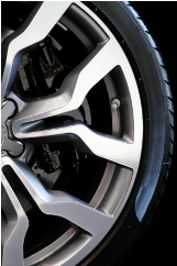 Close-up of a sports rim and tire